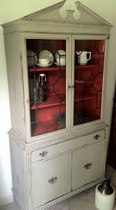 custom antique distressed chalk painted teak china hutch by