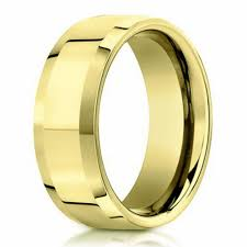 4mm ring designer men s wedding band in 14k yellow gold beveled edge 4mm