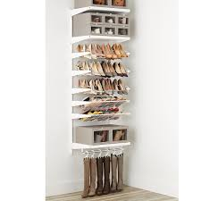 white u0026 white elfa décor shoe wall the container store