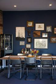 navy blue dining room wall blue parede azul kitchen cozinha insdustrial quadros