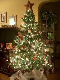 real trees with big fashioned colored lights so