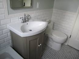 classy white subway ceramic bath wall tiled and gray single sink small bathroom decoration using single grey wood bathroom vanity including white subway tile bathroom wall and light grey bathroom wall paint idea