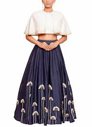 skirt and blouse salt and by sonam jain embroidered blue skirt and blouse