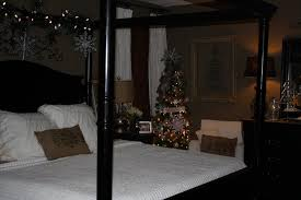 Black Canopy Bed Bedroom Black Canopy Bed With Christmas Decor Elegant Snowflakes