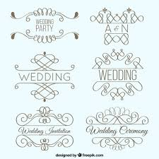 lineal wedding ornaments pack vector free
