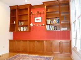appealing built in bookshelves design ideas u2013 maroon fabric