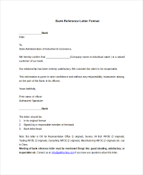 Embassy Letter From Bank 7 Bank Reference Letter Templates Free Sle Exle Format