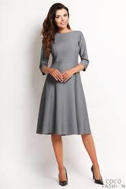 midi dress grey classic 3 4 sleeves midi dress
