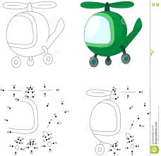 green helicopter coloring book and dot to dot game for kids stock