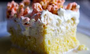 tres leches cornbread cake with white chocolate cherry popcorn