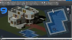 autocad 3d villa modeling lesson 9 3d swimming pool modeling