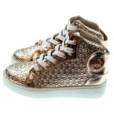 rose gold aston martin michael kors girls rose gold high top sneakers with embroidered