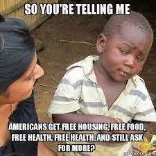 Free Food Meme - so you re telling me americans get free housing free food free