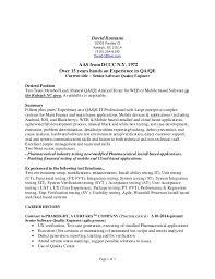 Manual Testing 2 Years Experience Resume Manual Testing Resume Sles 28 Images Sle Manual Testing Resume