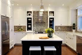 Modern White Kitchen Backsplash With Contemporary Mosaic Tiles - White kitchen backsplash