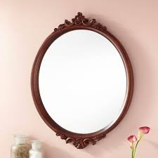 Oval Vanity Mirrors For Bathroom Oval Brown Stained Teak Wood Wall Mounted Bathroom Mirror With