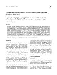 export performance of indian ornamental fish an analysis of