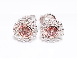pink diamond earrings 1 04ct argyle fancy pink diamonds earrings rounds 18k
