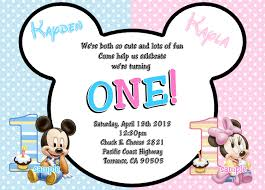 Twins 1st Birthday Invitation Cards Baby Mickey Mouse U0026 Baby Minnie Mouse Twins 1st Birthday