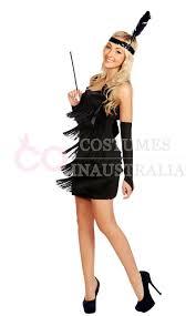 ladies black 1920s flapper fancy dress costume