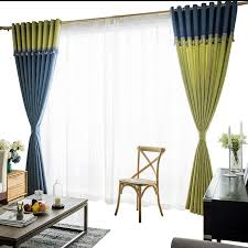 Green And Blue Curtains Blue And Green Modern Splicing Curtains For Living Room