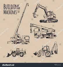 truck crane excavator bulldozer building machines stock vector
