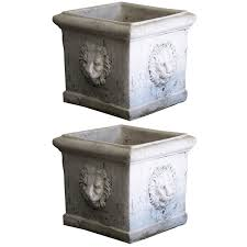 Concrete Planter Boxes by A Pair Of Lion Face Concrete Planter Boxes At 1stdibs