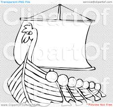 clipart outlined viking dragon ship with oars royalty free