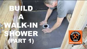 how to build a walk in shower part 1 wedi shower pan install