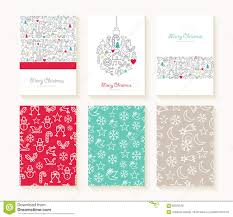 merry christmas outline greeting card pattern set stock vector