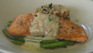 dill mustard baked salmon with dill sauce recipe whats cooking america