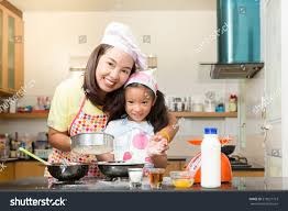 Learn To Decorate Cakes At Home Asian Mother Daughter Enjoy Making Bakery Stock Photo 519521713