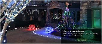 outdoor christmas light balls swag christmas light winter scene at nighttime with snow lights and