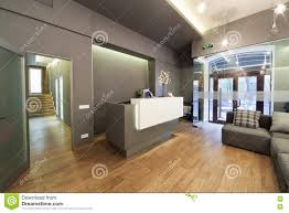 lobby entrance with reception desk in a dental clinic stock photo