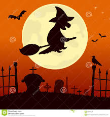 halloween background witch moon spooky cemetery with witch stock images image 34363424