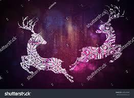 celebration background decorative ornamental deer silhouette stock