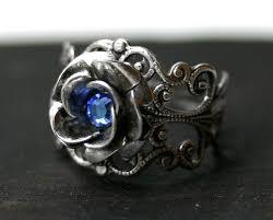 blue rose rings images Sapphire blue rose ring jpg