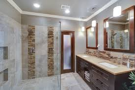 contemporary master bathroom with daltile stacked stone shanghai
