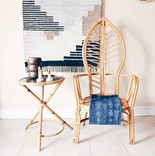 Vintage Bamboo Patio Furniture - rattan leaf shaped throne chairs with caned seat high back chair