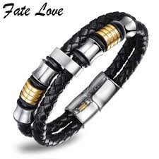 leather bracelet with charms images Fate love handmade leather bracelet men jewelry mens bracelets jpg