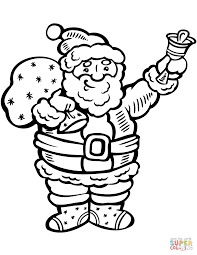 santa claus ringing the bell coloring page free printable