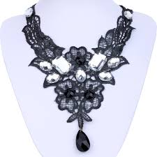 chunky crystal bib necklace images Victorian crystal black lace chain chunky pendant gothic choker jpg
