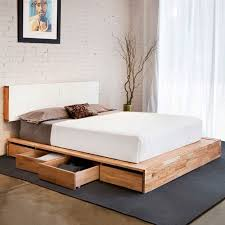 queen platform bed with storage and headboard the partizans
