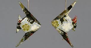 origami earrings fish earrings the paper crane origami