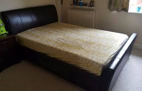 faux leather double bed with 2 drawers for under bed storage