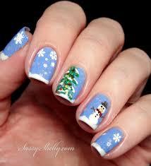 winter wonderland christmas tree u0026 snowman nail art with cbl