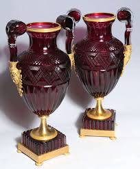 Ruby Vases A Magnificent Pair Of Russian Imperial Ruby Glass Vases With