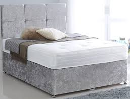 Divan Bed Frames Premium Crushed Velvet Silver 6ft King Size Divan Bed Base