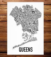 Queens Map Queens Neighborhood Map Art Print Features Local Pride Ork