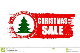 christmas sale and christmas tree on red drawn banner royalty free